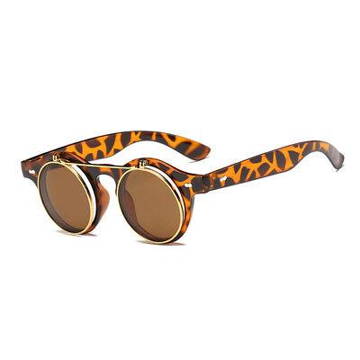 Leoparden Rahmen Sonnenbrille Vintage Pumk Herren Damen Brille Sunglasses Rund