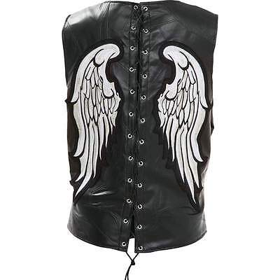 Black Leather VEST White Angel Wings Motorcycle Biker Fully Lined Laced Zippered