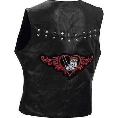 Motorcycle Vest Leather Ladies Route 66 Studs Diamond Plate New S M L XL 2X 3X
