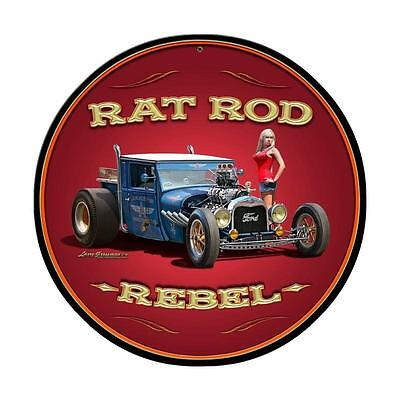 RAT ROD REBEL Metall Schild groß 35,5cm USA Garage V8 BLOWER PIN UP FORD A