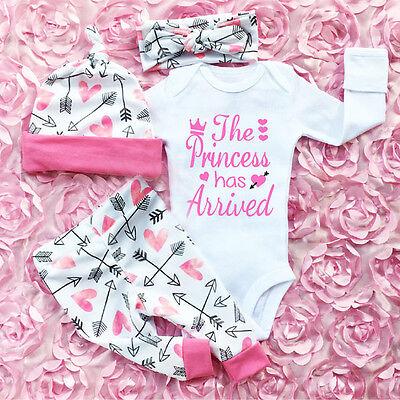 Neue Baby-mädchen-kleidung (4 STÜCKE Neugeborenen Baby Mädchen Outfits Kleidung Gesetzt Strampler Bodysuit)