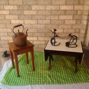 Antique OAK STOOL,  ANTIQUE TABLE + MORE **SEE EACH PRICE **