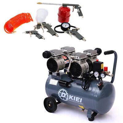 50L Litre Air Compressor 5pcs Tools Set 9.6CFM 3.5HP 60db Oilfree Silent Garage