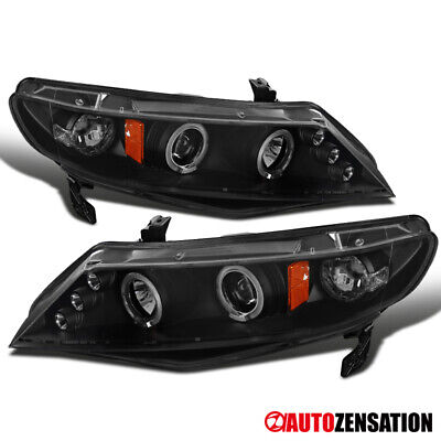 For 2006-2011 Honda Civic 4Dr Sedan Black LED Halo Rim Projector -