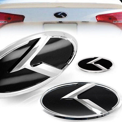 R LOGO Front Grill+Trunk+Steering Wheel Emblem Badge For KIA 11-13 Sportage R