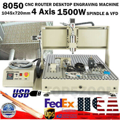 1.5kw Usb 8050 Cnc Router 4 Axis Engraver Metal Milling Machine Steel Structure