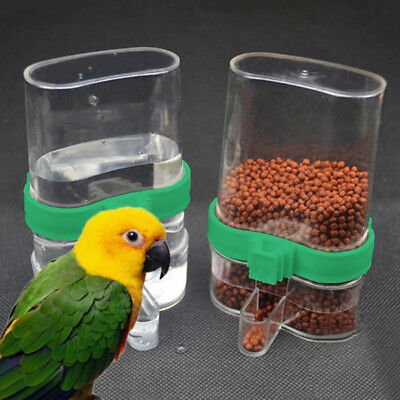 For Pet Acrylic Bird Feeder Automatic Seed & Water Feeder Cage Parrot Cockatiel