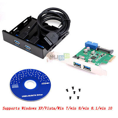 2 Ports USB 3.0 Pci-e Express Control Card Adapter 3.5 Front Panel Expansion Bay