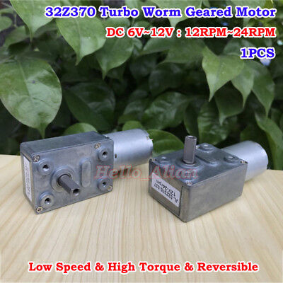 Dc 12v 24rpm Metal 370 Turbo Worm Geared Motor Low Speed Reversible High Torque