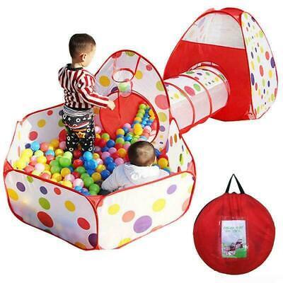 Portable Kids Indoor Outdoor Play Tent Crawl Tunnel Set 3 in 1 Ball Pit Tent US Kids Indoor Play Tent