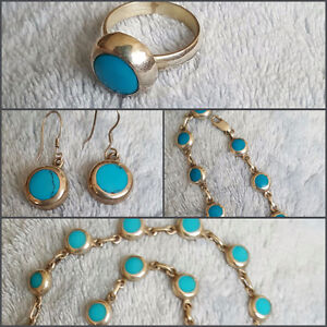 Beautiful Turqouise & Mexican Silver 925 Jewelry  Set