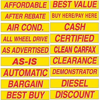 """Car Dealer Windshield Stickers Slogans Red and Yellow 1 pack 15"""" Choose Your Own"""