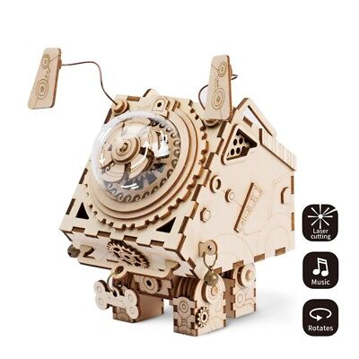 Robotime DIY Robotic Dog Model Building Kits Wooden Music Box Toy for Children](Wood Building Kits For Kids)
