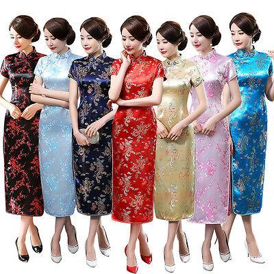 Plus Größe 6XL Chinesinnen Satin Socialite Kleid Elegant langen Cheongsam Qipao Lange Plus Größe Kleider