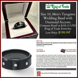 Gent's Sz10 Tungsten Ring - King of Trade