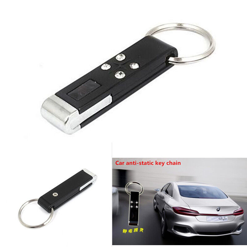 2Pcs Auto Car Electrostatic Eliminator Mini Anti-Static Key Chain Black & Silver
