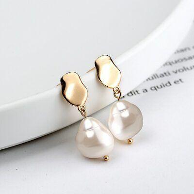 S925 Baroque Pearl Earings Champagne Gold Elegant Water Drop French Earrings  Baroque Pearl Drop Earrings