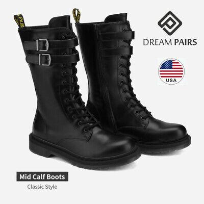 DREAM PAIRS Women Lace Up Mid Calf Zipper Flat Low Heel Mili