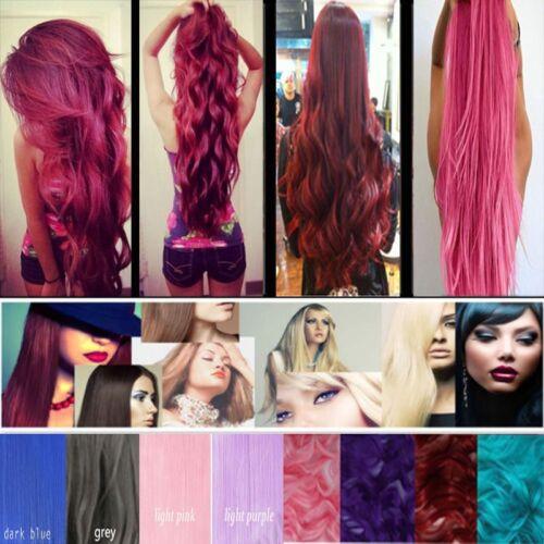 Bunte Rot Clip in Hair Extensions Haarverlängerung Haarteile Gewellt Gerade Haar