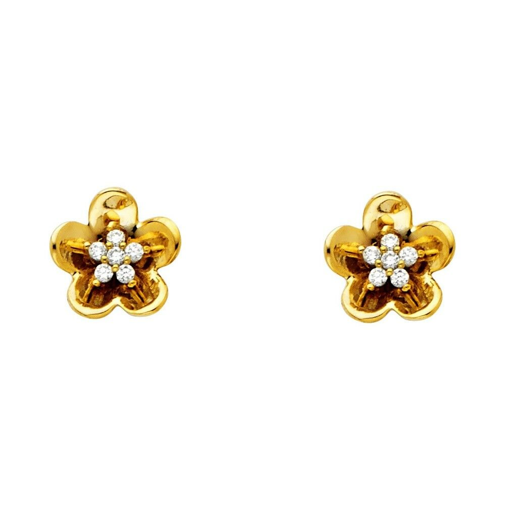 95e262f5915e7 Details about Flower Stud Earrings CZ Solid 14k Yellow Gold Floral Studs  Daisy Post Fancy