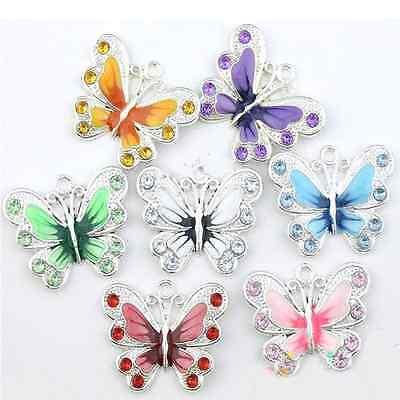 Wholesale 5 10Pcs Enamel Animal Butterfly Pendant Charms Jewelry Making Findings