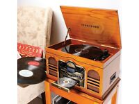 retro record player /CD tape radio and records