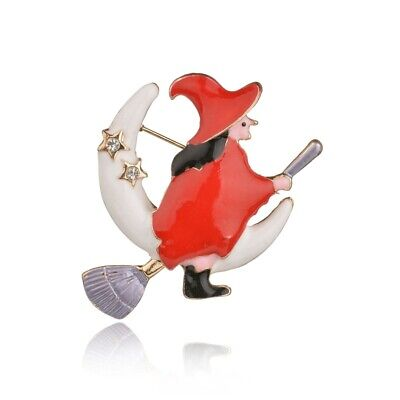 Red Moon Halloween Party (Halloween Brooch Pin Party Red Costume Witch on Broomstick on Moon)
