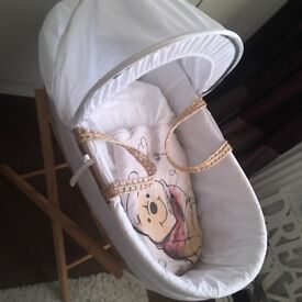 Moses basket stand and 12 sheets and 1 0-6 months sleeping bag