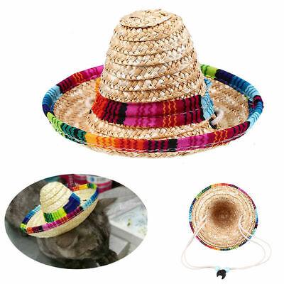 Cut Multicolor Pet Straw Hat Dog Cat Mexican Straw Sombrero Adjustable Buckle](Dog Sombrero)