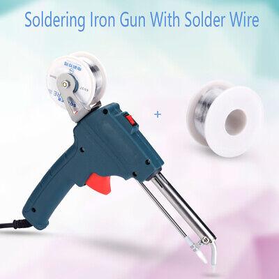 60w Auto Sending Electric Soldering Iron Gun Wflux 2 1.0mm Solder Wire Tin Kit