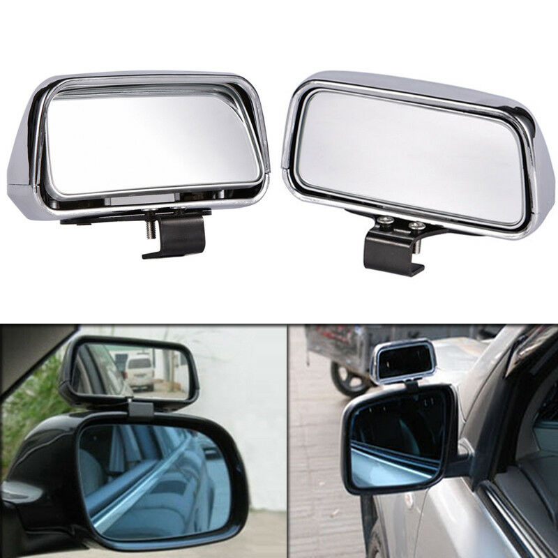 2pcs Chrome HD Car Van Adjustable View Blind Spot Wide Angle Rear Mirror #079