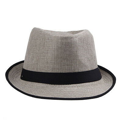 Cool Black & Brown Neon strip Trilby Fedora Summer Beach Straw Cowboy Hat Cap