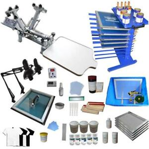 4 Color 1 Station Screen Printing Start Hobby Kit include Exposure Unit/ Storage Rack 006887