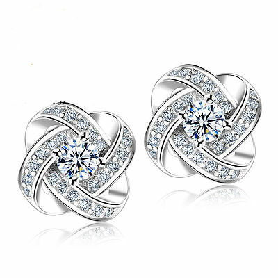 Jewelry - 925 Sterling Silver Women Jewelry Love Forever Elegant Crystal Ear Stud Earrings
