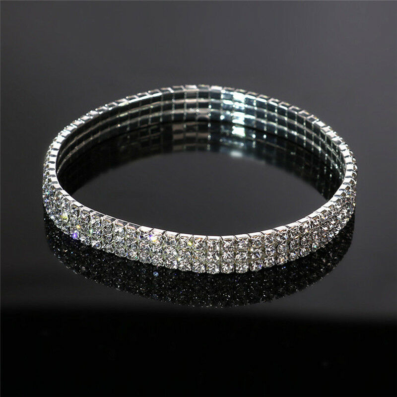 Silver Ankle Bracelet Stretchy 2 3 4 5 Rows Anklet Chain Diamante Rhinestones Anklets