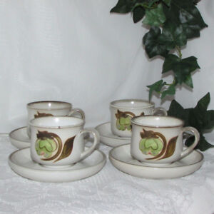 4 Sets Vintage Denby Stoneware Coffee Cups & Saucers Troubadour
