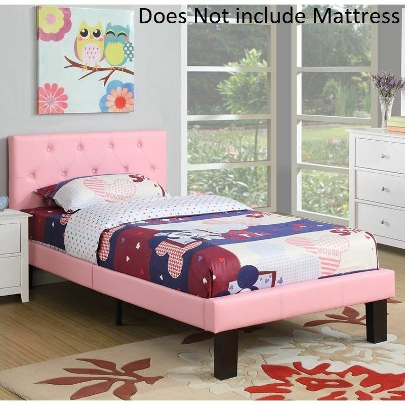 Girls Pink Platform Wood Bed Frame Twin Size with Upholstere