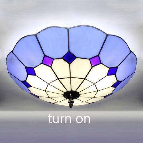3-light Big Tiffany Flush Mount light Bowl Art Glass Shade C