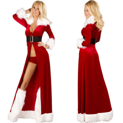 Women Santa Claus Christmas Costume Cosplay XMAS Fancy Dress Outfits Coat Sexy