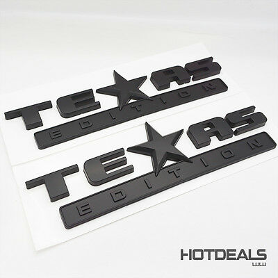 Set Black TEXAS Edition Emblem Badge Stickers For Chevrolet Dodge GMC Decoration