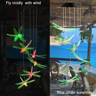 Dragonfly Wind Chimes (Solar Dragonfly Wind Chime In Color-Changing Led Yard Patio Garden Porch)