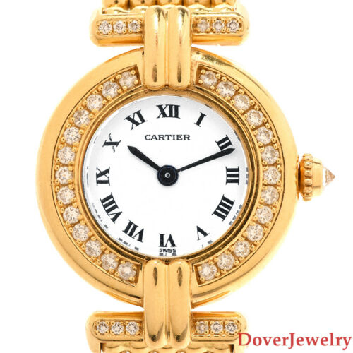 $1834.00 - Cartier Colisee Diamond 18K Yellow Gold Ladies Watch 47.5 Grams NR