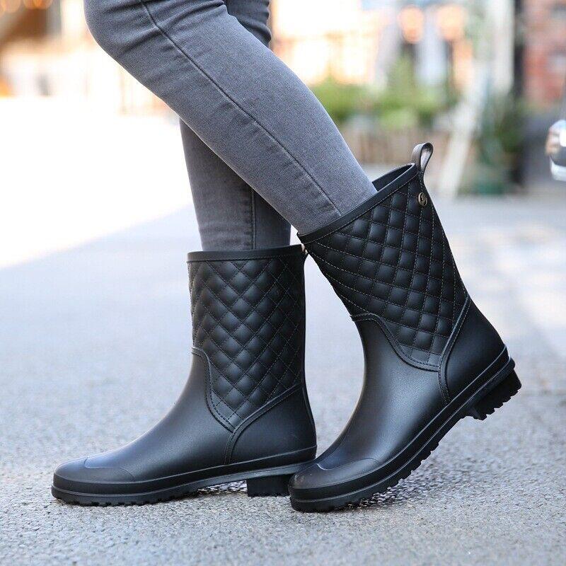 Women's Waterproof Rain Boots Mid-Calf High Slip Work Shoes