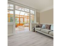 Brand New 5 x 4 yd Notting Hill Silver Laminate Flooring with Free Underlay & Free Beading