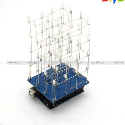 4x4x4 3d Light Cube Kit Blue Arduino Shield Led Precise Diy Kit D