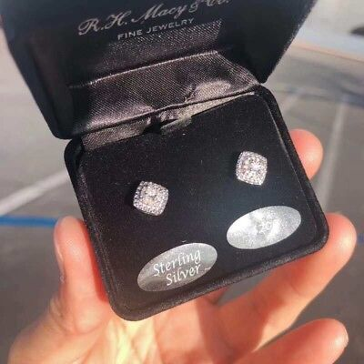 (Diamond Cluster Stud Earrings (1/10 ct. t.w.) in Sterling Silver by Macy's)
