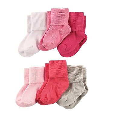 LUVABLE FRIENDS 6 PACK BASIC CUFF SOCKS BABY GIRLS 0-6 6-12 12-18 MONTHS SOLIDS