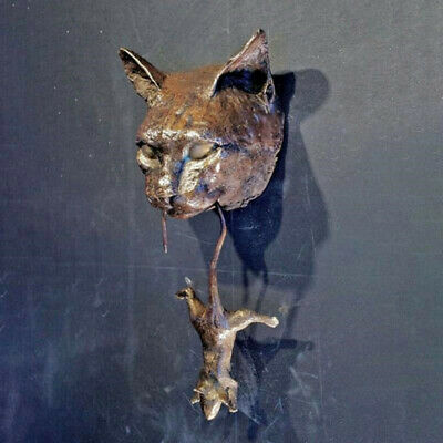 Cat and Mouse Door Knocker or Wall Ornament Rusty Brown Cast Iron