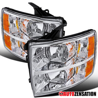 For 2007-2014 Chevy Silverado 1500 2500 3500 Clear Lens Headlights Lamps+Amber