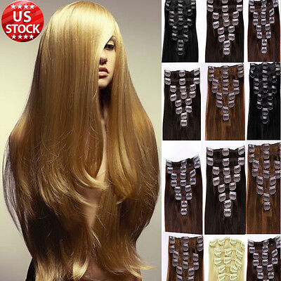 Clip In Real Remy Human Hair Extensions Full Head Long Straight Black Blonde A97